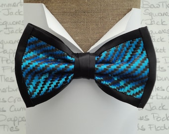 Bow ties, carbon fibre and blue polyester pre tied bow tie, on an adjustable band.