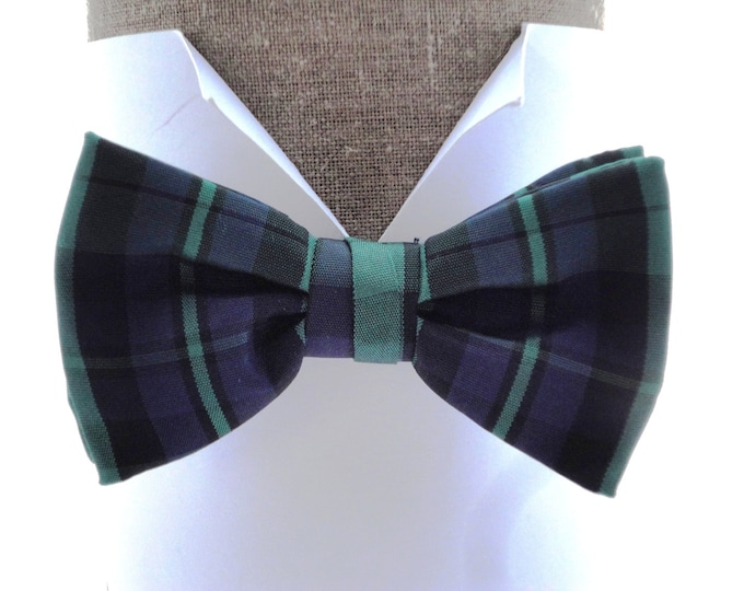 """Tartan Black Watch Bow Tie, pre tied bow tie, will fit neck size up to 20"""" (50cms)"""