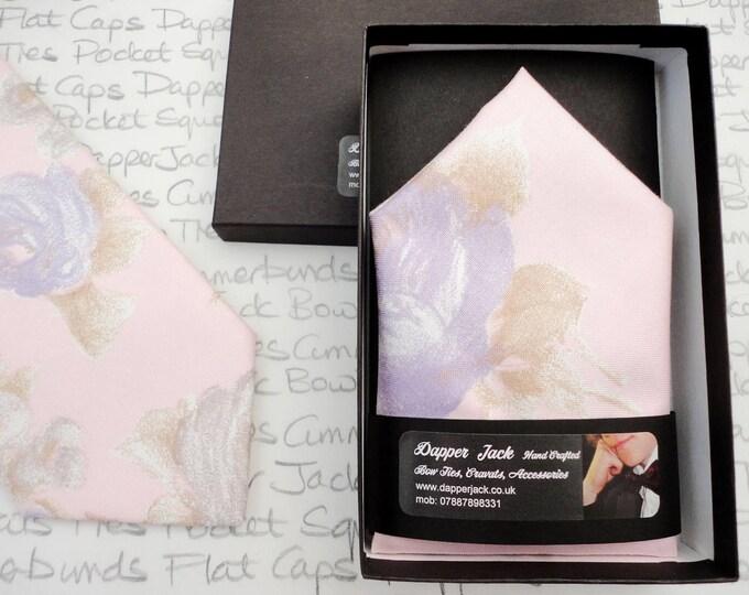 Pocket square, pink floral pocket square, pink, lilac, grey pocket square