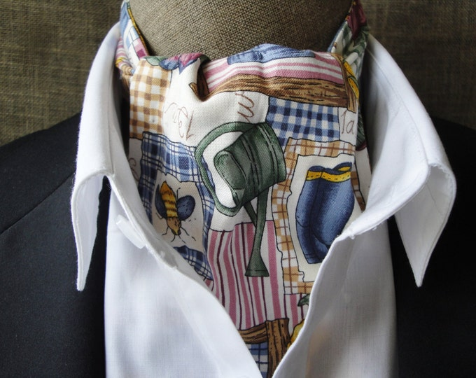 Cravat, gardening design on cream background.  One size fits all.
