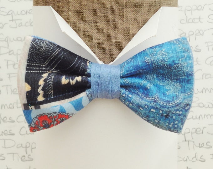 Velour and silk one off bow tie, bow ties for men, blue pre tied bow tie