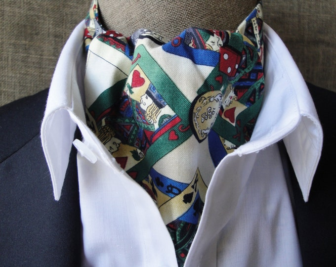 Cravat, cards and dice on cream.  Reversible, blue and white spots on the reverse side. One size fits all.