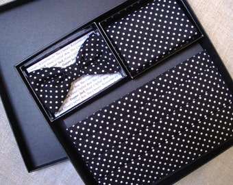 Cummerbund Bow Tie and Pocket Square Set.  Black with white spots cotton fabric.