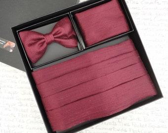 Burgundy silk cummerbund set, self tie or pre tied bow tie