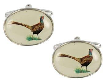Pheasant Cuff Links, Cuff Links for Men