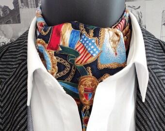 Cravat, sailor print on navy background. Reversible cravat, small print on reverse side