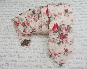 Roses on blush pink neck tie, ties for men, wedding ties for men, floral neck tie