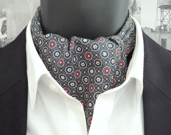 Cravat, Ascot, Union Jack print on a khaki background, reversible cravat, small floral print on reverse side