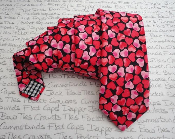 Neck tie for men, Hearts print tie, Valentines tie