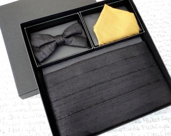 Cummerbund, Bow Tie and Pocket Square Set, Black Silk, Gold silk pocket square