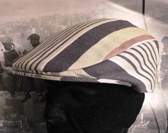 Flat cap, brown and beige stripe, men's flat cap