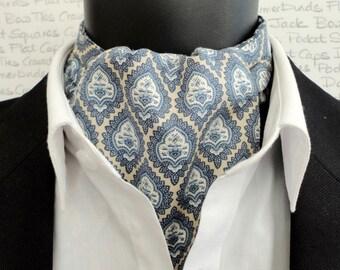 Cravat, Ascot, Cravats for men, blue cravat, reversible cravat