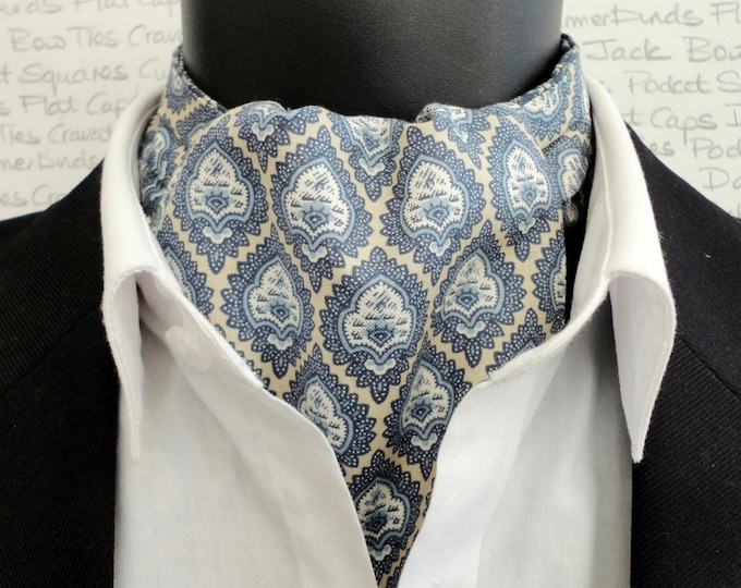 Cravat, Ascot, Cravats for men, blue cravat, reversible cravat