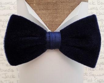 Blue velvet bow tie, bow ties for men