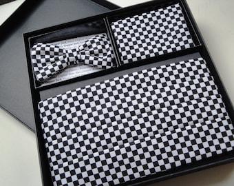 Cummerbund, Bow Tie Pocket Square Set, Black and White Chequered