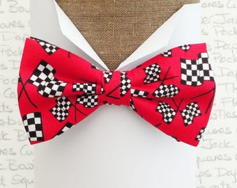 Bow ties for men, Men's bow ties, Chequered flags on a red background, Racing car bow tie