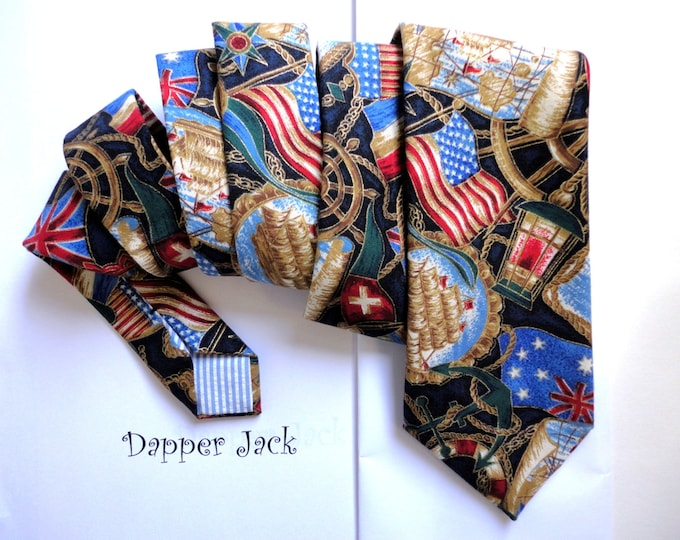 Sailor Print Neck Tie, ties for men, men's ties, navy tie