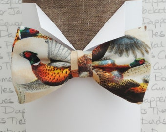 Pheasant print bow tie, bow ties for men