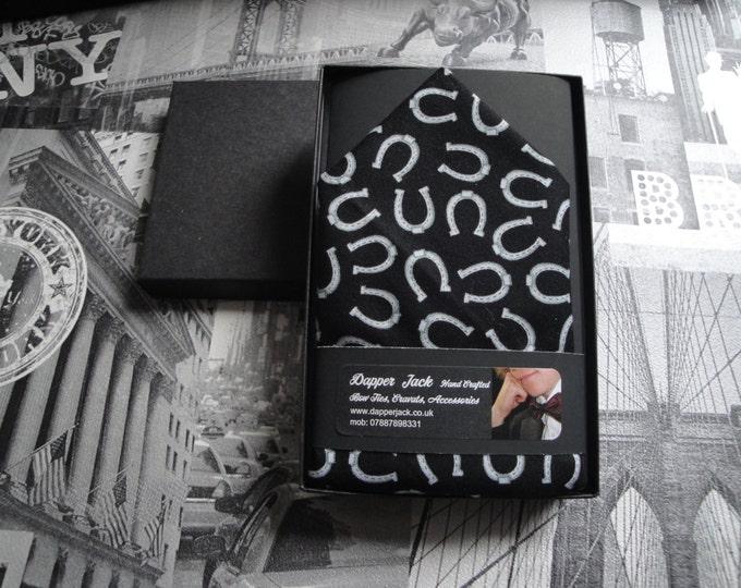 Pocket Square, Grey Horseshoes on Black Background, Pocket Handkerchief
