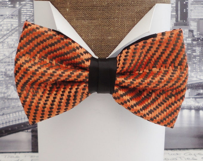 Carbon fibre bow tie, orange polyester and black carbon fibre bow tie, McLaren orange bow tie