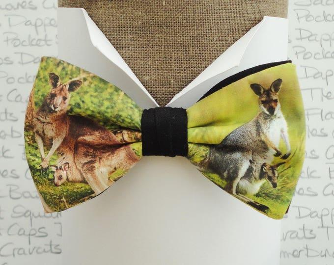 Kangaroo print bow tie, pre tied bow tie