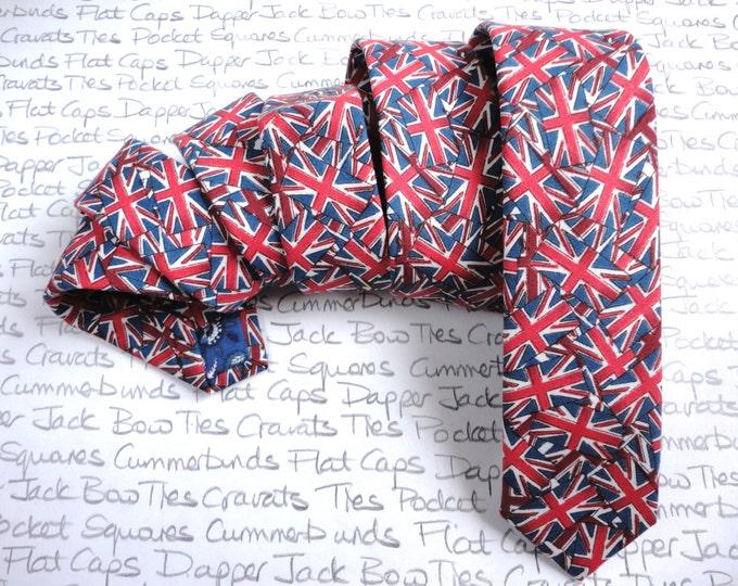 Skinny Necktie, Union Jack necktie for men, ties for men