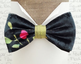 A one off bow tie in black velour with a pink bud and green leaves, bow ties for men, velvet bow tie