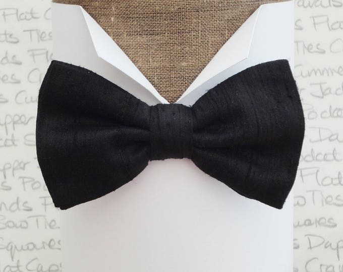 """Black silk bow tie, pre tied, or self tie, will fit neck size 14"""" to 19"""""""