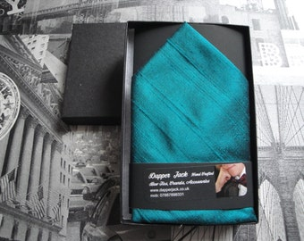 Silk pocket square, peacock blue silk pocket square