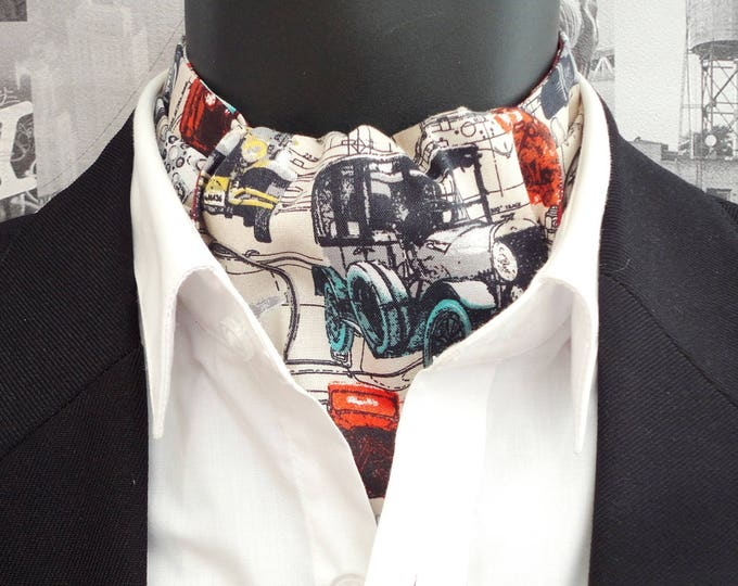 Cravat, reversible cravat, ascot, historic cars print on a beige background, rust paisley on the reverse side