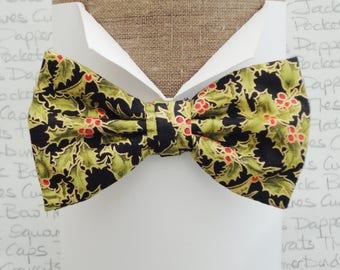 Bow Tie, Bow Ties For Men, Xmas Holly Bow Tie
