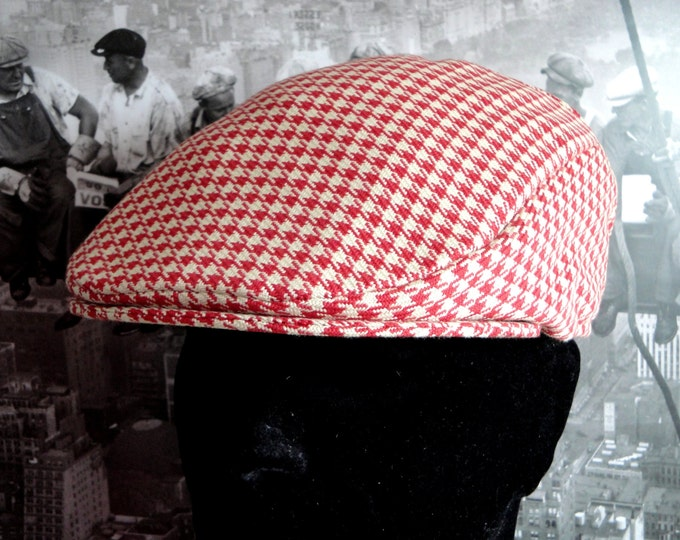 Flat Cap, red and cream hounds tooth check flat cap, hats for men