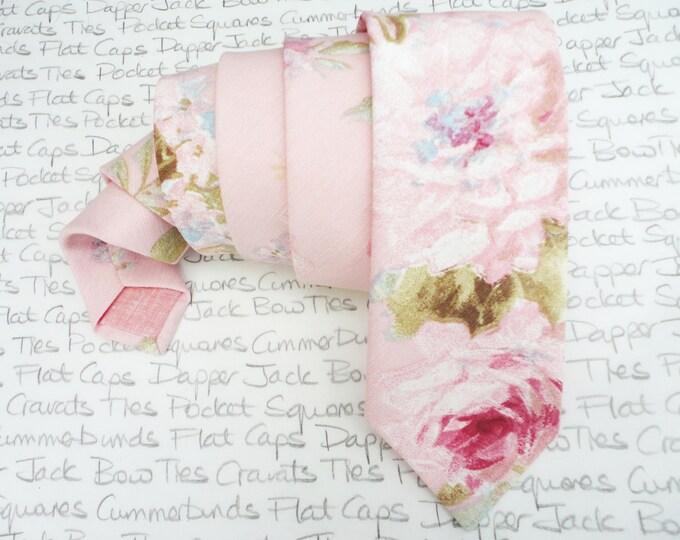 Blush pink floral neck tie, wedding ties for men, roses print neck tie