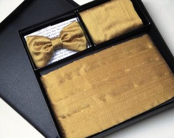 Cummerbund , bow tie and pocket square set in gold silk dupion, wedding cummerbunds