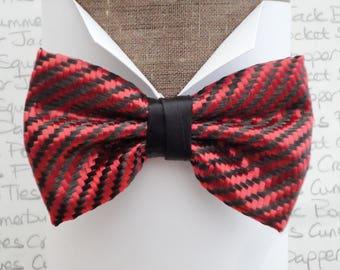 Carbon fibre bow tie, red polyester and black carbon fibre pre tied bow tie
