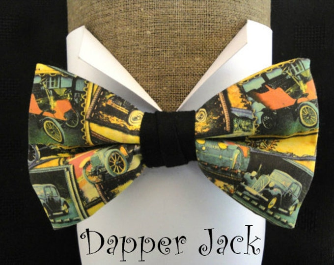 """Bow Tie, vintage cars print, pre-tied with adjustable band to fit up to neck size 20"""""""