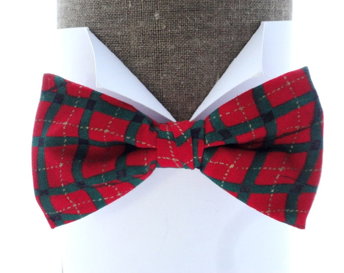"""Red and Green Check Print Bow Tie, pre tied or self tie bow tie, will fit neck size up to 20"""" (50cms)"""