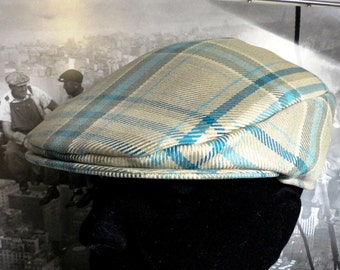 Flat Cap, beige and turquoise check flat cap, Golfers Hat, Driving Hat,