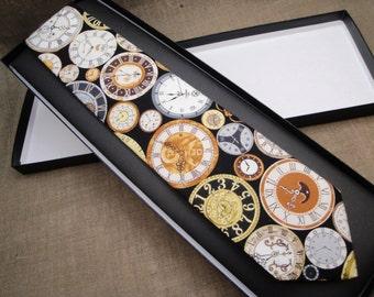 Clock Print Tie, 100% Cotton