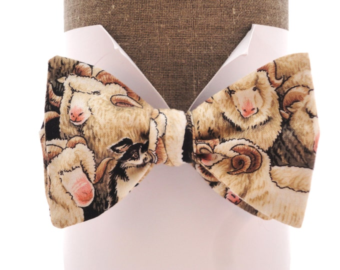 """Self tie or pre tied bow tie in a sheep print, will fit upto neck size 20"""" (50cms)"""