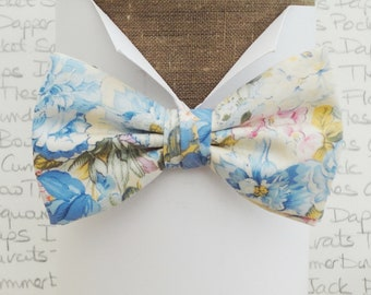 Bow ties for men, wedding bow tie, blue floral bow tie
