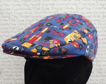 Driving hat, flat caps for men, racing cars print flat cap