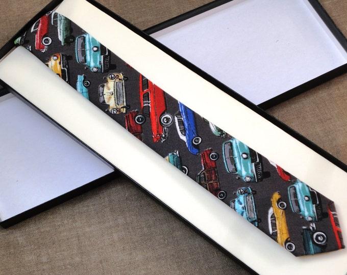 Skinny Tie, Men's Tie Classic Cars on Grey Cotton Fabric