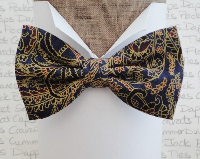 Dark blue paisley bow tie, pre tied or self tie bow tie