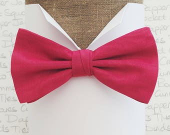 Bow ties for men, cerise moire taffeta pre tied bow tie