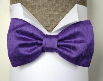 """Purple Silk Bow Tie, Pre tied or self tie on an adjustable band, will fit neck size up to 19.5"""" (48cms)"""