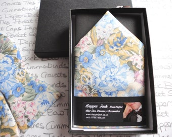 Blue floral pocket square, also available, matching tie, bow tie and scrunchy pre tied wedding cravat