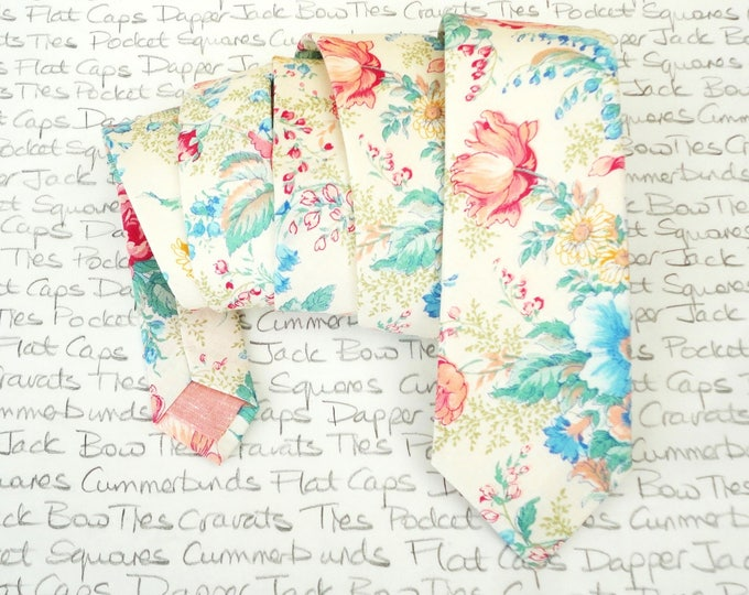 Floral tie, ties for men, pink and blue flowers on an ivory background, wedding tie