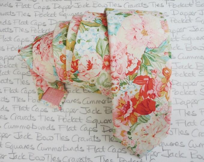 Floral tie, ties for men, ties, wedding tie, blush pink floral tie