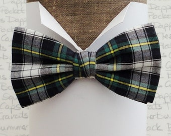 Bow ties for men, check bow tie, tartan bow tie, green, black, white, yellow check bow tie